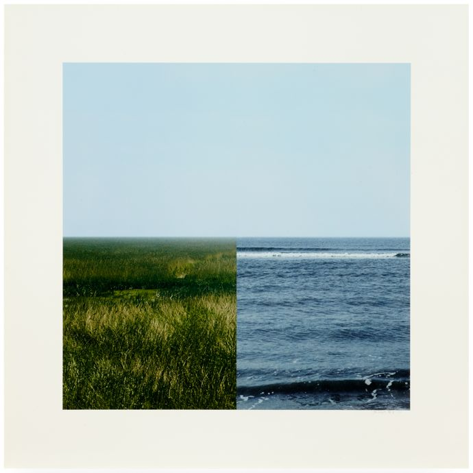 Land-Sea Horizon 3, 2011 From a series of four photo-collages Photo-collage Paper and Image 120.3 x 120.3 cm (each) © Jan Dibbets. Courtesy the artist and Alan Cristea Gallery, London