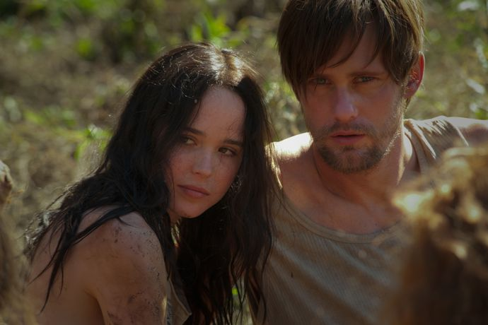 Ellen Page as IZZY and Alexander Skarsgård as BENJI