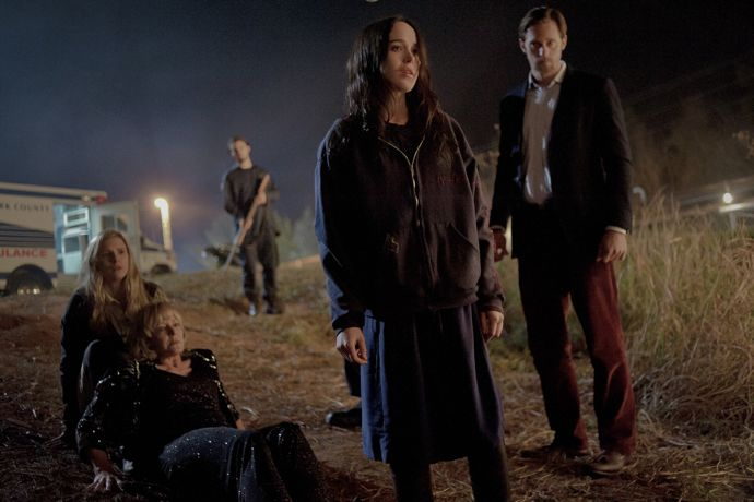 Brit Marling as SARAH, Pamela Roylance as DIANE WISECARVER, Ellen Page as IZZY and Alexander Skarsgård as BENJI