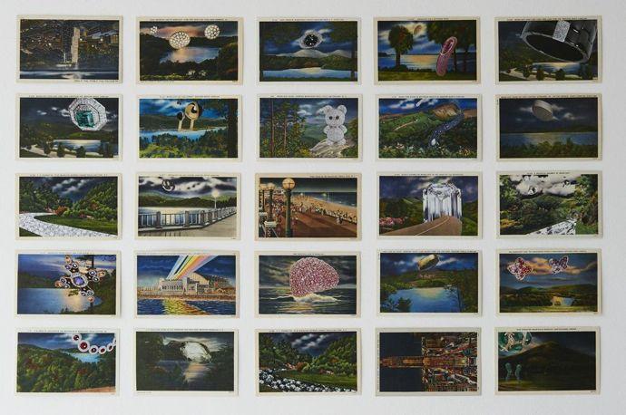 Holly Stevenson, Moonlight, 2012-13, Collage: Twenty five linen type American postcards, magazine cutouts and pencil Handmade oak frame, 82 x 58 cm