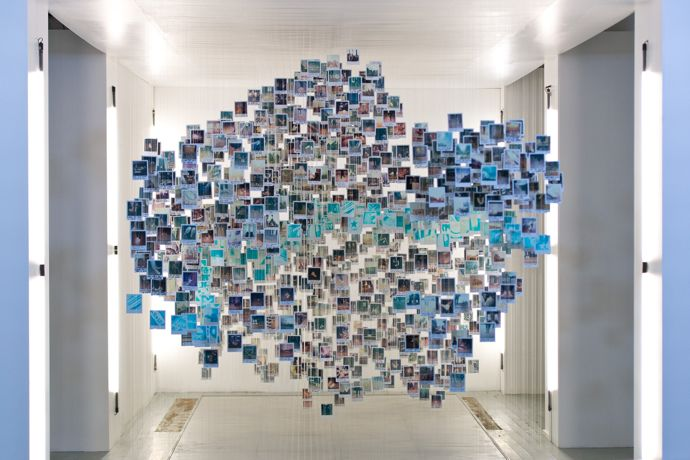 Artist-Damilola-Odusote-and-students-from-Central-Saint-Martins-unveil-an-original-'Made-by-you'-art-installation-assembled-from-thousands-of-Chuck-Taylor-fans'-polaroids
