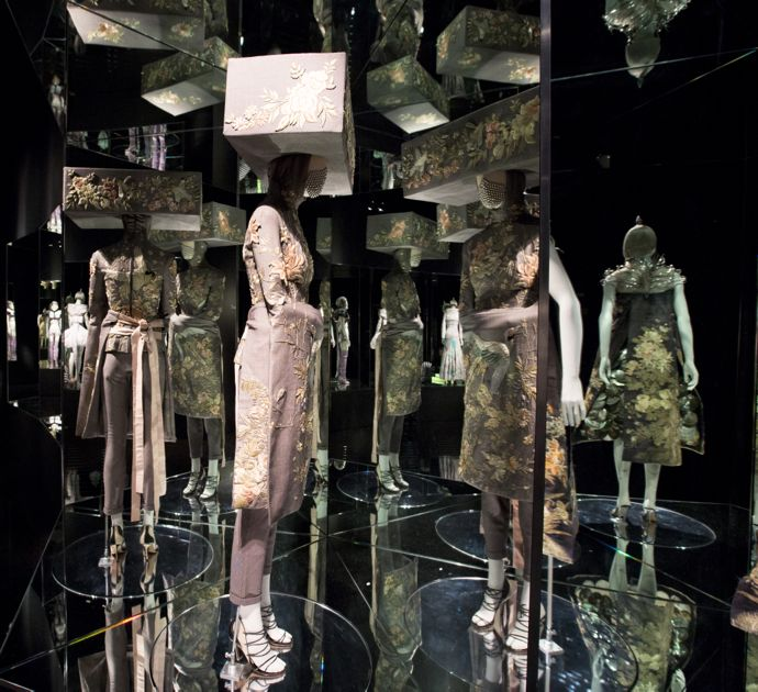 Installation view of Romantic Exoticism gallery Alexander McQueen Savage Beauty at the Victoria and Albert Museum London