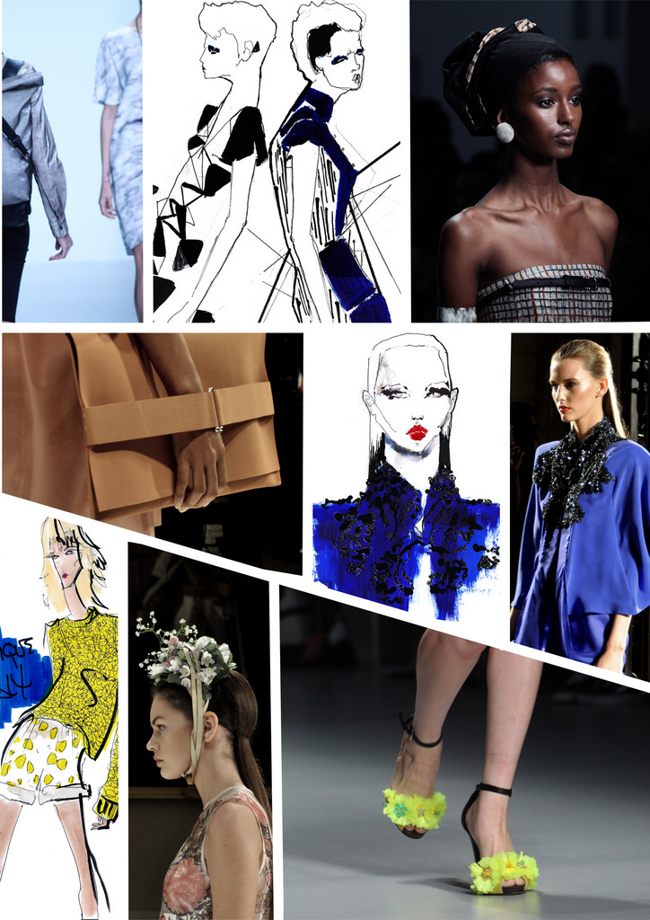 catwalk and illustrations dark blue