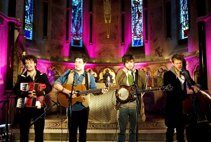 Mumford and Sons perform in St Barnabas Chapel, in central London, in a live session for the Geoff Lloyd Hometime Show on Absolute Radio.
