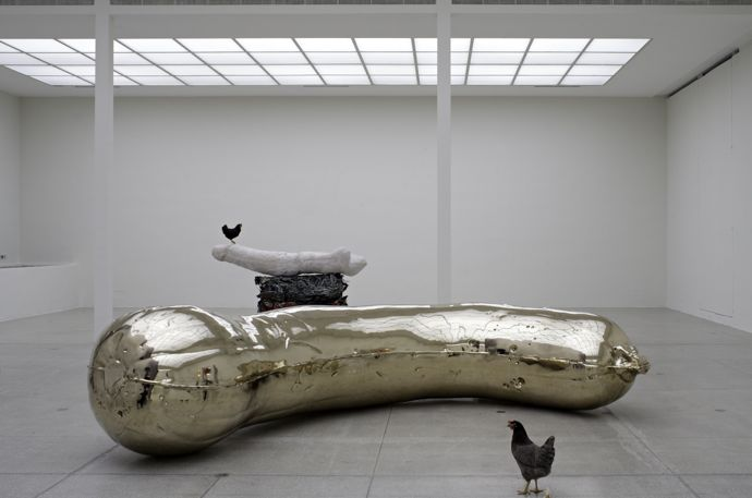 Sarah Lucas, Florian, 2013, bronze, 135 x 495 x 250cm, edition of 3 + 1AP, Installation view, NOB + Gelatin, Secession, Vienna, 23 November 2013 - January 19, 2014, Copyright the artist, courtesy Sadie Coles HQ, Londo