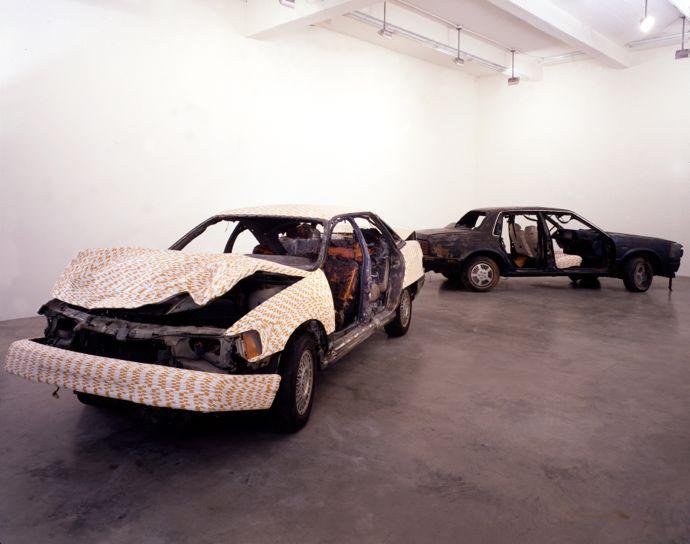 Sarah Lucas, Life's a Drag (Organs), 1998, two cars, cigarettes, each car 146 x 460 x 180 cm, Copyright the artist, courtesy Sadie Coles HQ, London