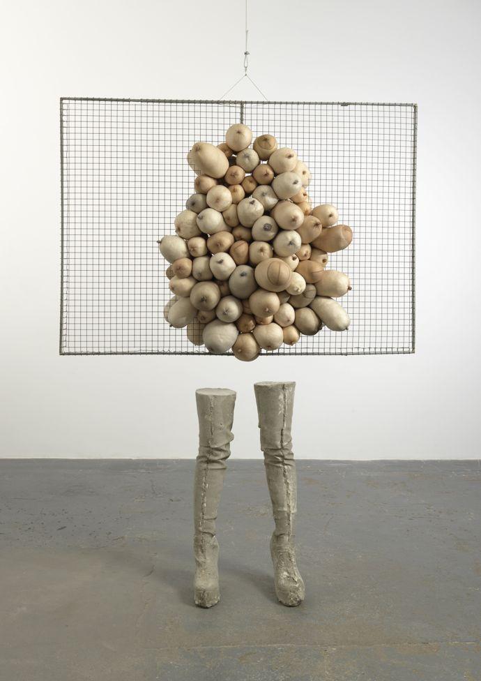 Sarah Lucas, Nice Tits, 2011, concrete, wire mesh, tights, fluff, 208 x 160 x 60cm, copyright the artist, courtesy Sadie Coles HQ, London