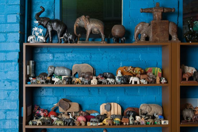 Elephant figurines from the collection of Peter Blake. Photo by Hugo Glendinning.