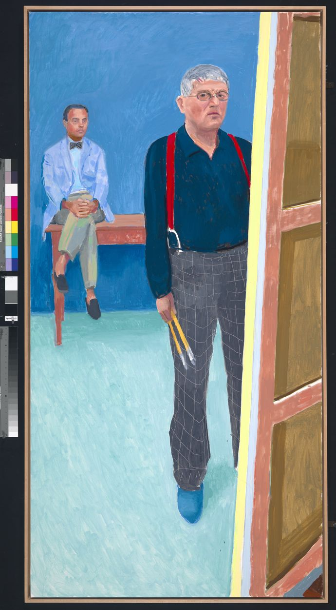"Self Portrait with Charlie"", 2005 Oil on canvas © David Hockney Photo Credit: Richard Schmidt Collection National Portrait Gallery, London"