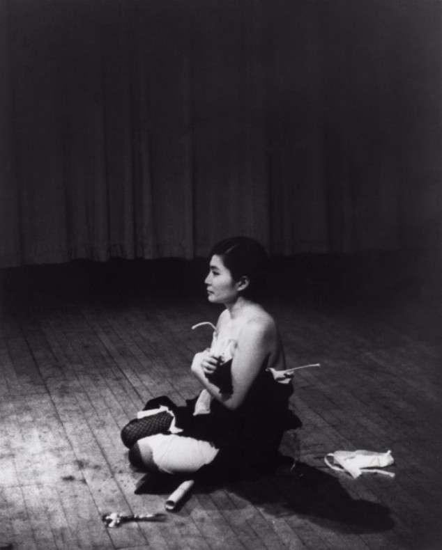 Yoko Ono Cut Piece (1964) Performed by the artist 21.03.1965 Film still from Maysles Brothers ©Yoko Ono